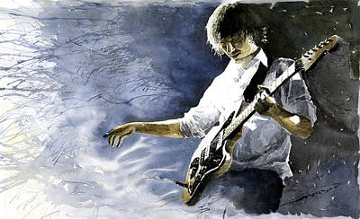Figurativ Painting - Jazz Guitarist Last Accord by Yuriy  Shevchuk