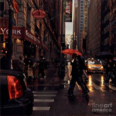 Photograph - Jazz In Red And Yellow - New York In The Rain by Miriam Danar