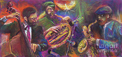 Player Painting - Jazz Jazzband Trio by Yuriy  Shevchuk