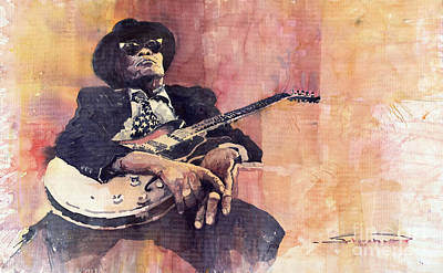 Jazz Legends Wall Art - Painting - Jazz John Lee Hooker by Yuriy Shevchuk
