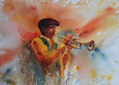 Mardi Gras Painting - Jazz Man by Ruth Kamenev
