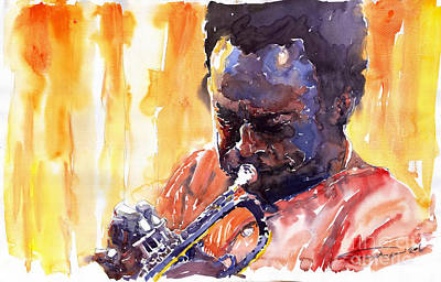 Watercolor Watercolour Figurativ Portret Painting - Jazz Miles Davis 8 by Yuriy  Shevchuk