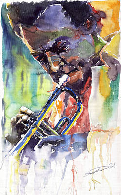 Painting - Jazz Miles Davis 9 Blue by Yuriy Shevchuk