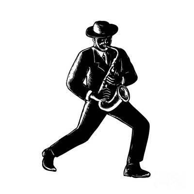 Musicians Royalty Free Images - Jazz Musician Playing Sax Woodcut Royalty-Free Image by Aloysius Patrimonio
