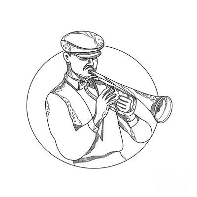 Musicians Royalty Free Images - Jazz Musician Playing Trumpet Doodle Art Royalty-Free Image by Aloysius Patrimonio