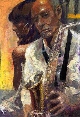 Saxophon Painting - Jazz Muza  by Yuriy  Shevchuk