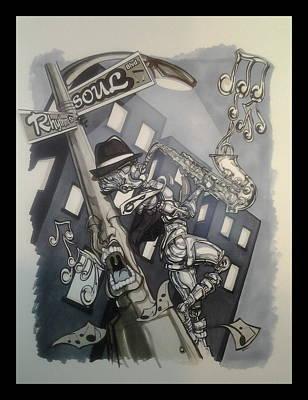 Lamp Post Mixed Media - Jazz Nights by Demitrius Bullock
