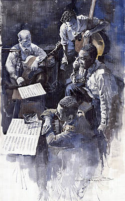 Watercolour Wall Art - Painting - Jazz Parker Tristano Bauer Safransky Rca Studio Ny 1949 by Yuriy Shevchuk