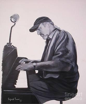 Painting - Blaa Kattproduksjoner        Jazz Pianist Theo Saunders by Sigrid Tune