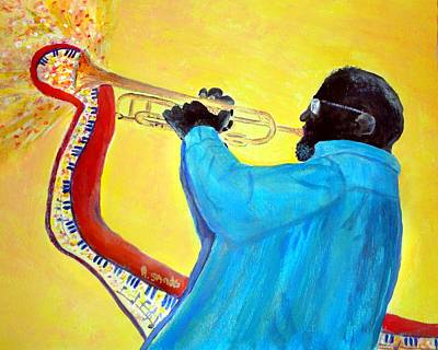 Painting - Jazzy Trumpet Player by Anne Sands