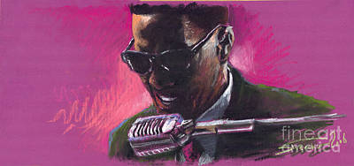 Pastel Painting - Jazz. Ray Charles.1. by Yuriy  Shevchuk