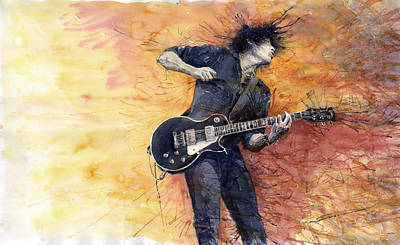 Rock Wall Art - Painting - Jazz Rock Guitarist Stone Temple Pilots by Yuriy Shevchuk