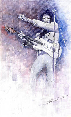 Watercolour Painting - Jazz Rock Jimi Hendrix 07 by Yuriy Shevchuk