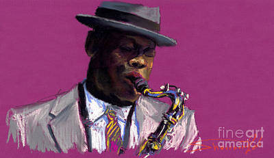 Pastels Painting - Jazz Saxophonist by Yuriy  Shevchuk