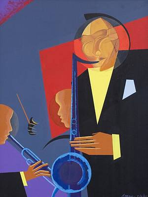 Saxophone Player Painting - Jazz Sharp by Kaaria Mucherera