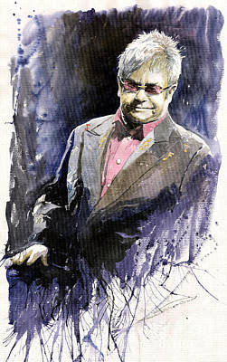 Elton John Wall Art - Painting - Jazz Sir Elton John by Yuriy Shevchuk