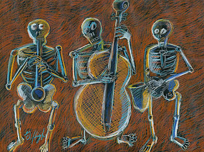 Musicians Drawings - Jazz Time with the Bonz Band by Gerry High