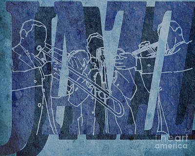 Trumpet Mixed Media - Jazz Trio 33 - Blue by Pablo Franchi