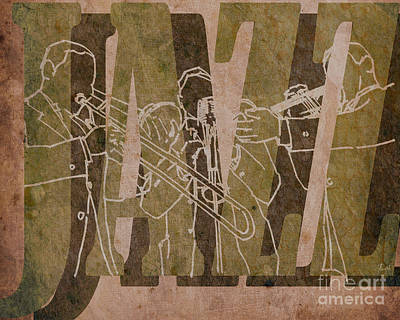 Trumpet Mixed Media - Jazz Trio 33 - Brown by Pablo Franchi