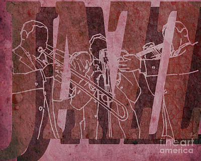 Trumpet Mixed Media - Jazz Trio 33 - Red by Pablo Franchi