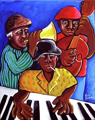 African American. Folk Art Painting - Jazz Trio by Renie Britenbucher