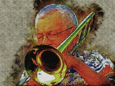 Digital Art - Jazz Trombone Player by Gary De Capua
