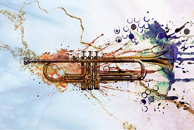 Jazz Digital Art - Jazz Trumpet by David Ridley