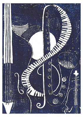 Lino Mixed Media - Jazz by Ushma Sargeant