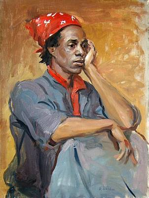 Painting - Jaz With A Red Headscarf by Robert Holden
