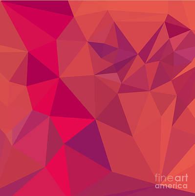 Jazzberry Jam Red Abstract Low Polygon Background Art Print