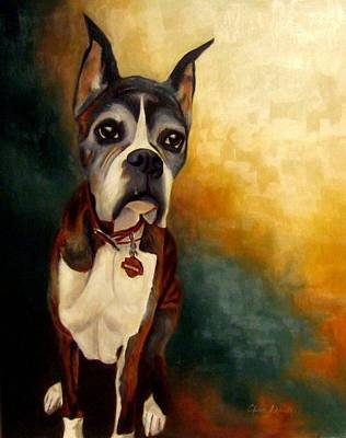 Boxer Puppy Painting - Jazzy by Alison Schmidt Carson
