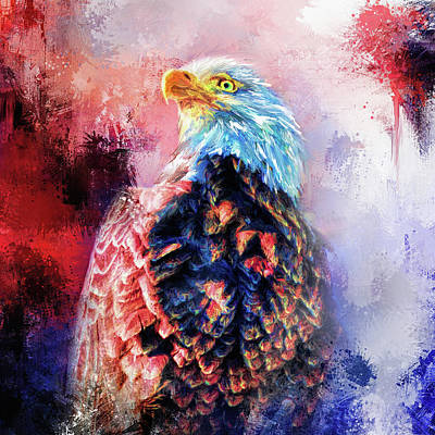 Mixed Media - Jazzy Bald Eagle Colorful Bird Art By Jai Johnson by Jai Johnson