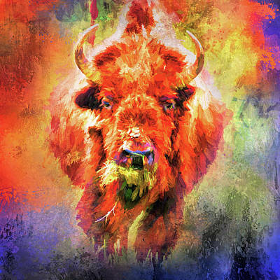 Mixed Media - Jazzy Buffalo Colorful Animal Art By Jai Johnson by Jai Johnson