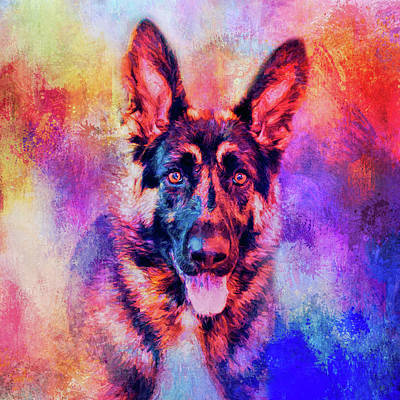 Mixed Media - Jazzy German Shepherd Colorful Dog Art By Jai Johnson by Jai Johnson