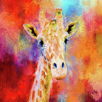 Mixed Media - Jazzy Giraffe Colorful Animal Art By Jai Johnson by Jai Johnson