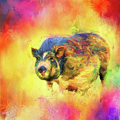 Mixed Media - Jazzy Pig Colorful Animal Art By Jai Johnson by Jai Johnson