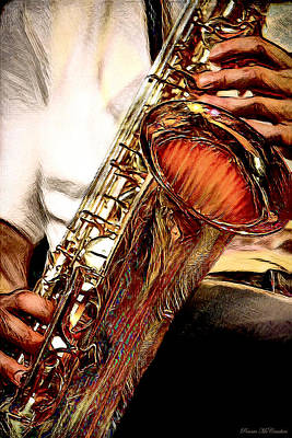 Digital Art - Jazzy Sax by Pennie McCracken