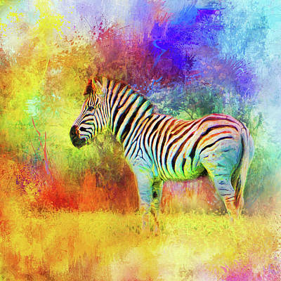 Mixed Media - Jazzy Zebra Colorful Animal Art By Jai Johnson by Jai Johnson