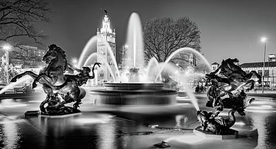 Photograph - J.c. Nichols Fountain And Kansas City Plaza - Black And White by Gregory Ballos