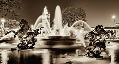 Photograph - J.c. Nichols Fountain And Kansas City Plaza - Sepia by Gregory Ballos