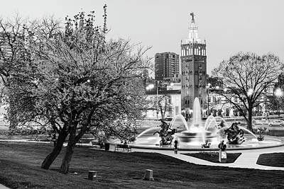 Photograph - J.c. Nichols Fountain And Kc Plaza - Infrared Monochrome by Gregory Ballos