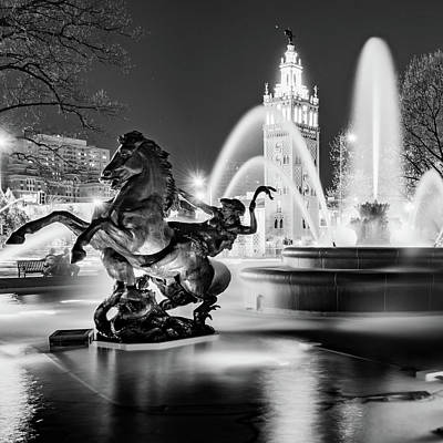 Photograph - J.c. Nichols Fountain And Statues - Square Format - Black And White Edition by Gregory Ballos
