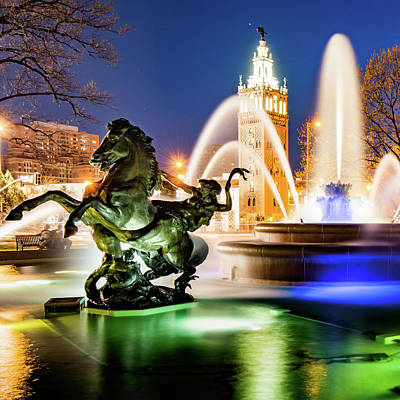 Photograph - J.c. Nichols Fountain And Statues - Square Format by Gregory Ballos