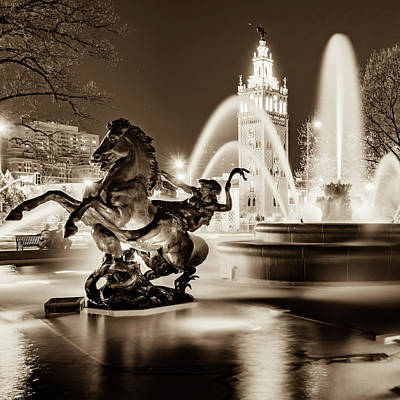 Photograph - J.c. Nichols Fountain And Statues - Square Format - Sepia Edition by Gregory Ballos