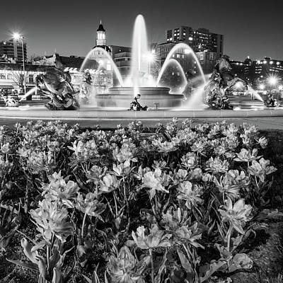 Photograph - Jc Nichols Fountain In Spring - Square Format - Monochrome by Gregory Ballos