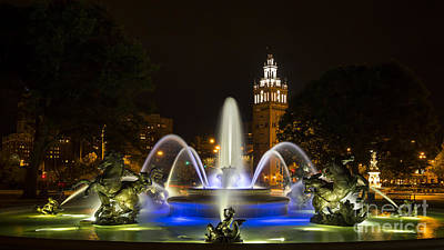 Photograph - J.c. Nichols Fountain In The Evening by Dennis Hedberg