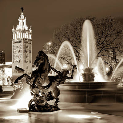 Photograph - J.c. Nichols Fountain Statues - Kansas City Plaza In Sepia by Gregory Ballos