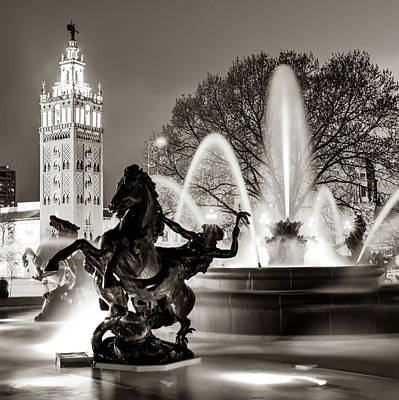 Photograph - J.c. Nichols Fountain Statues Sepia - The Kansas City Plaza by Gregory Ballos