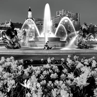 Photograph -  J.c. Nichols Memorial Fountain Bw - Kansas City Mo - Square by Gregory Ballos