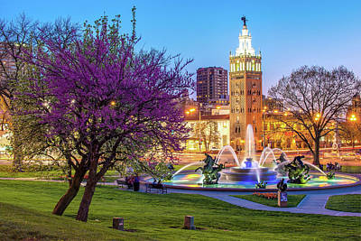 Photograph - J.c. Nichols Memorial Fountain In Spring - Kansas City Missouri by Gregory Ballos